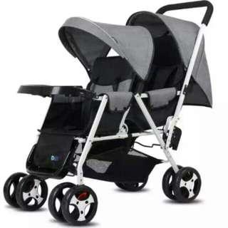 正品dib前後座雙人推車 亞麻布 灰色 雙胞胎手推車 前後座 大小寶方便出遊 雙寶推車