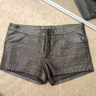 Zara Leather Look Shorts Mini Pleather Faux Quilted XS 6 8 32 34