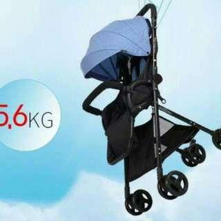 超高景觀56公分現貨 亞麻藍布 嬰兒推車5.6公斤 單手收折 輕便攜帶 可當餐椅可平躺  超堅固鋁合金車骨架
