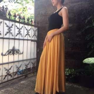 Mustard Chiffon Skirt