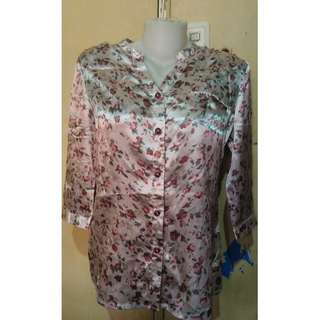 3/4 Sleeves Silky Office Blouse
