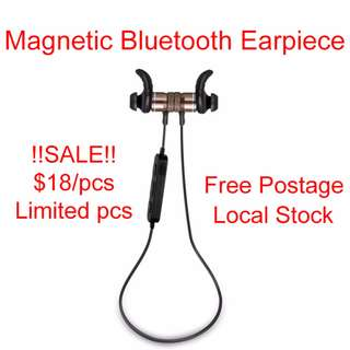 Magnetic Bluetooth Wireless Earpiece Earphone Mobile for Android and iPhone