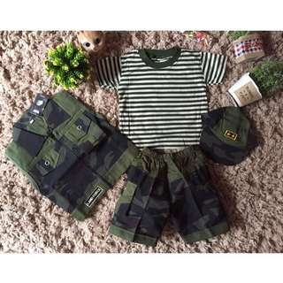 Baru Setelan Tentara Baby Anak Cowok Dengan Rompi Dan Topi
