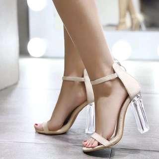 麂皮裸色高跟涼鞋 Suede High Heels