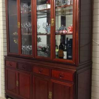 Beautiful antique design and hand-made wooden cabinet including upper and lower cabinets.