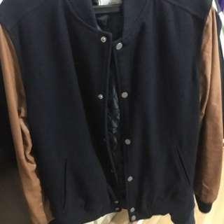 Jaket Bershka Leather Sleeves