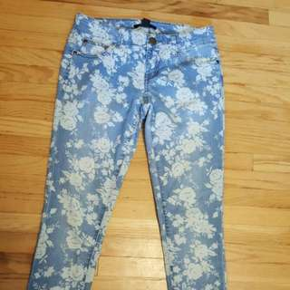 Forever 21 Floral Jeans
