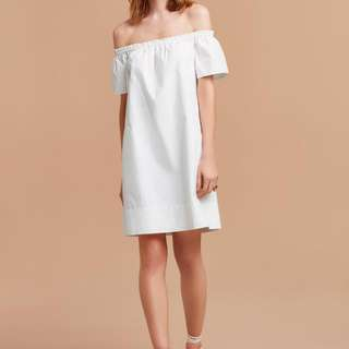 Wilfred Lunette Dress, Off The Shoulder, White, Size Small