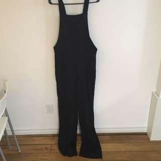 Black Long Leg Dungarees Style Jumpsuit