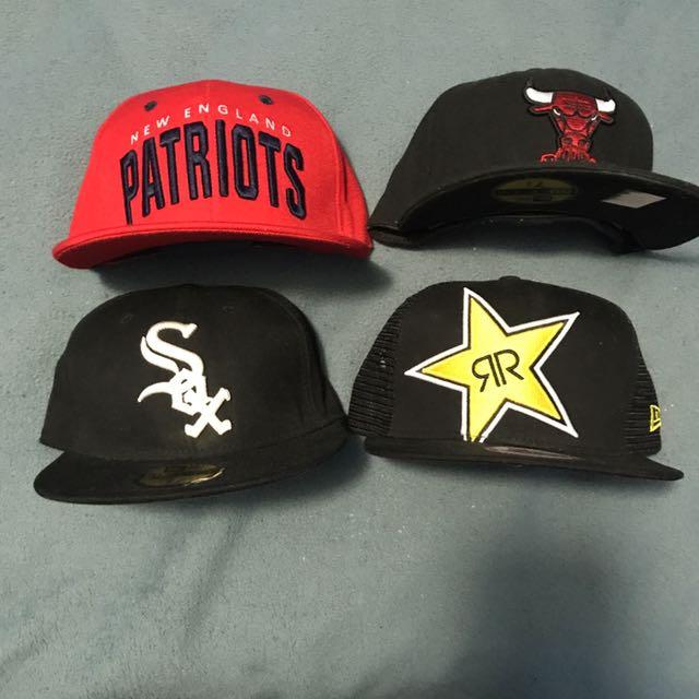 4 Mens Hats 2 Snapbacks 2 Fitteds