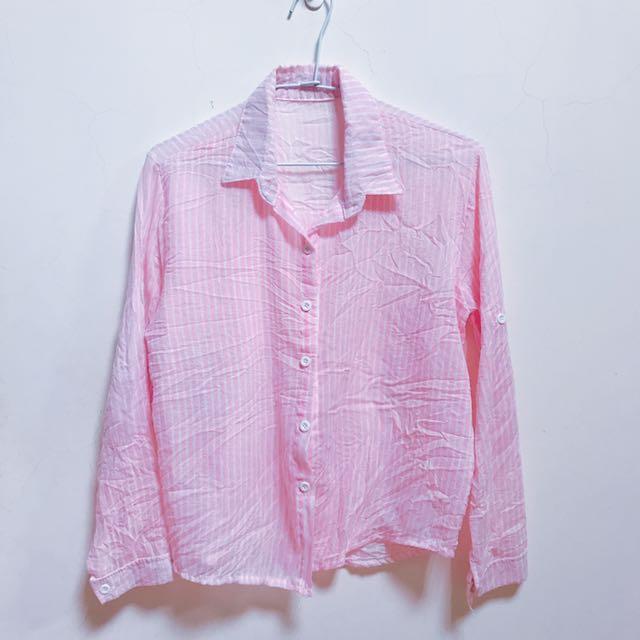 粉紅條紋襯衫