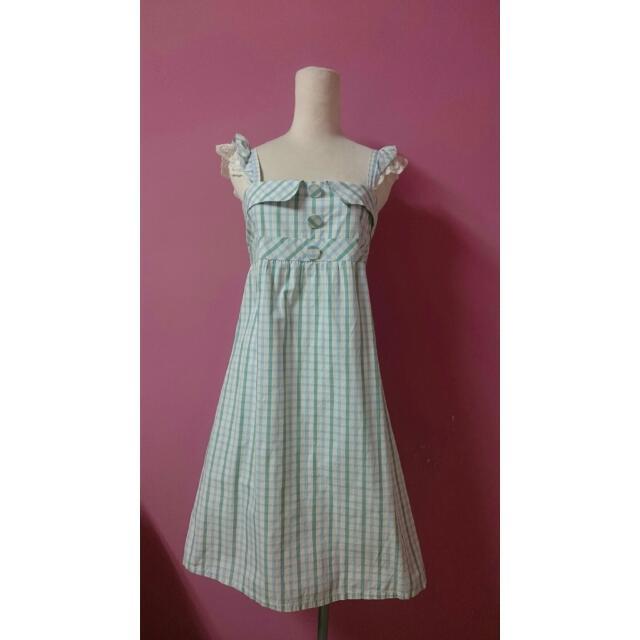 可愛蕾絲荷葉邊格紋洋裝