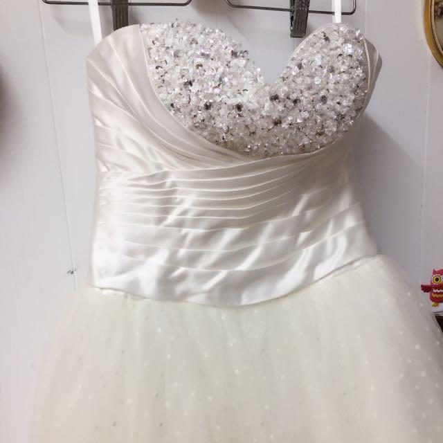 自助婚紗 甜美可愛風前短後長白紗