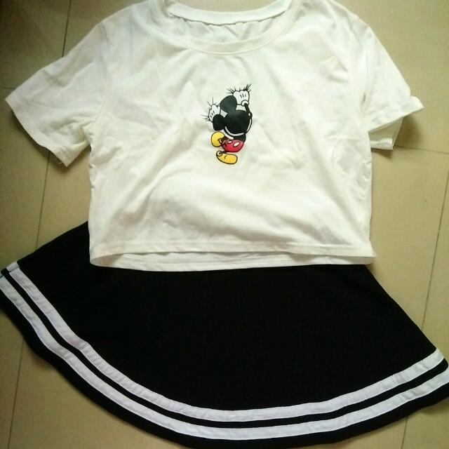 米奇短版上衣+短裙 #街舞   #我的旋轉衣櫃   #夏季衣物 #短裙 #短袖上衣 #雙十一女裝出清