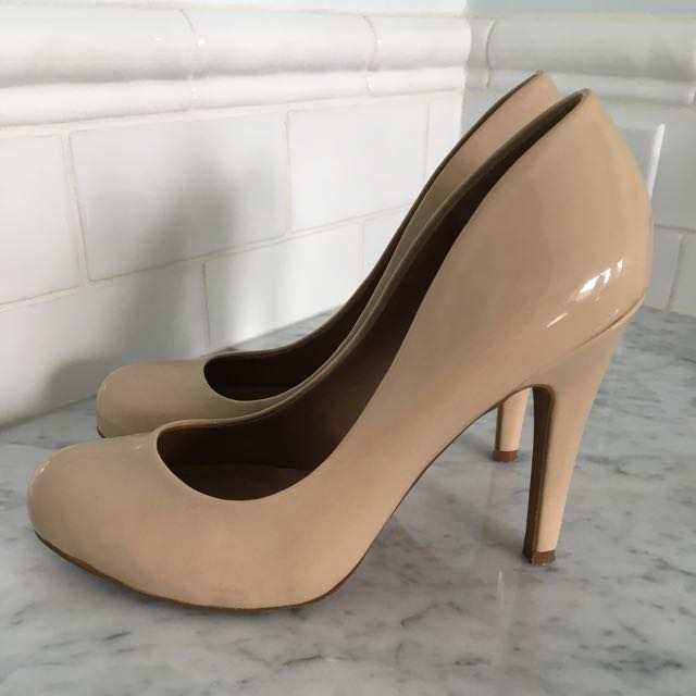 Aldo Patent Leather Nude Heels