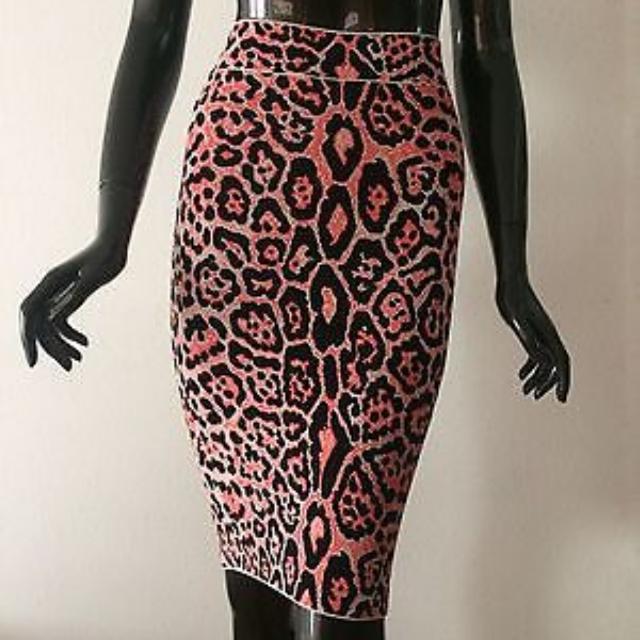 BCBG Pink Leopard Print Power Pencil Skirt XS