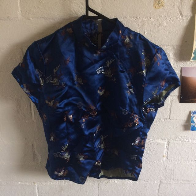 Beautiful Cobalt Blue Vintage Chinese Silk Top With Buttons And Mandarin Collar