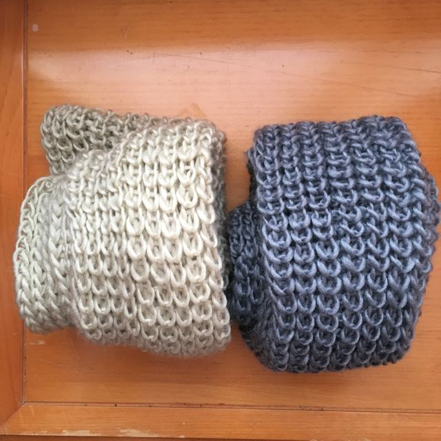 Beige And Dark Grey Knit Infinite Scarves