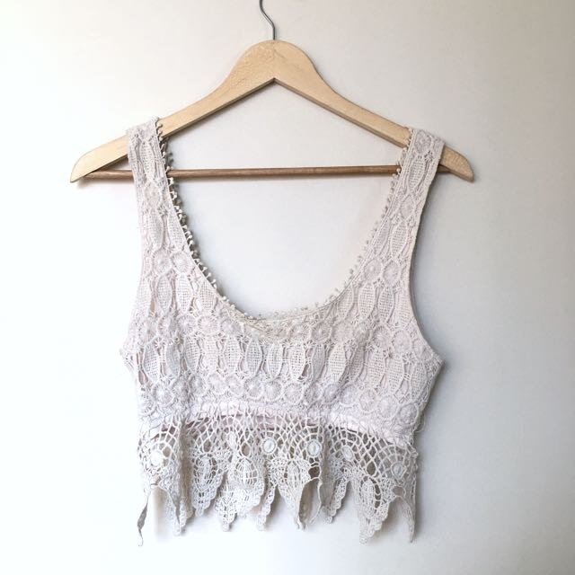 Beige Boho Crop Top