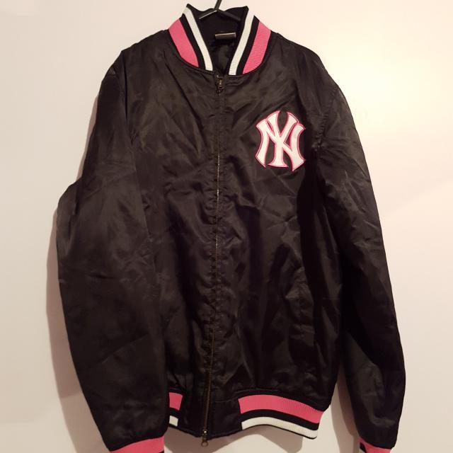 Black and Pink Yankees Bomber Jacket~L