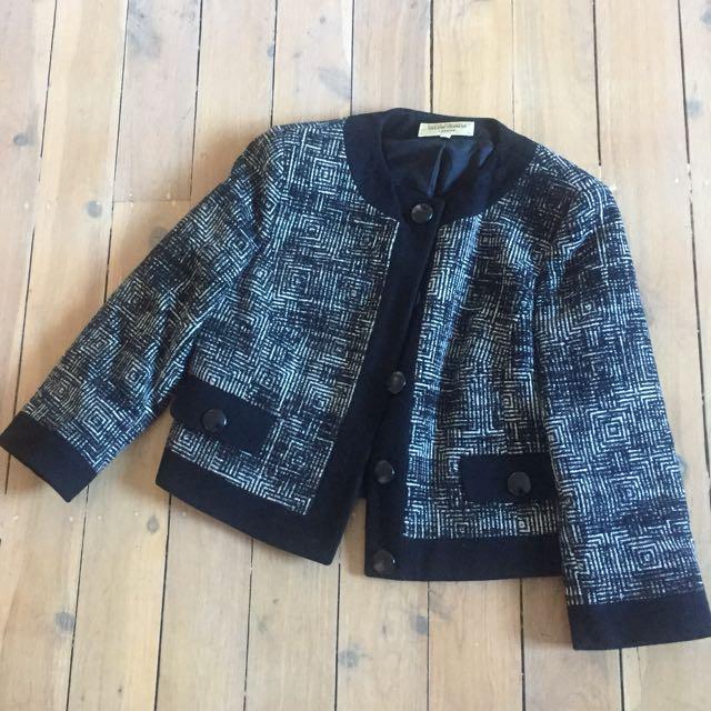 Black And White Tweed Jacket Size L Helene Berman