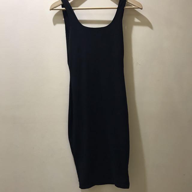Black Fitted Midi Dress