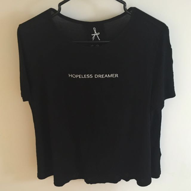 "Black ""Hopeless Dreamer"" Flared T-Shirt"
