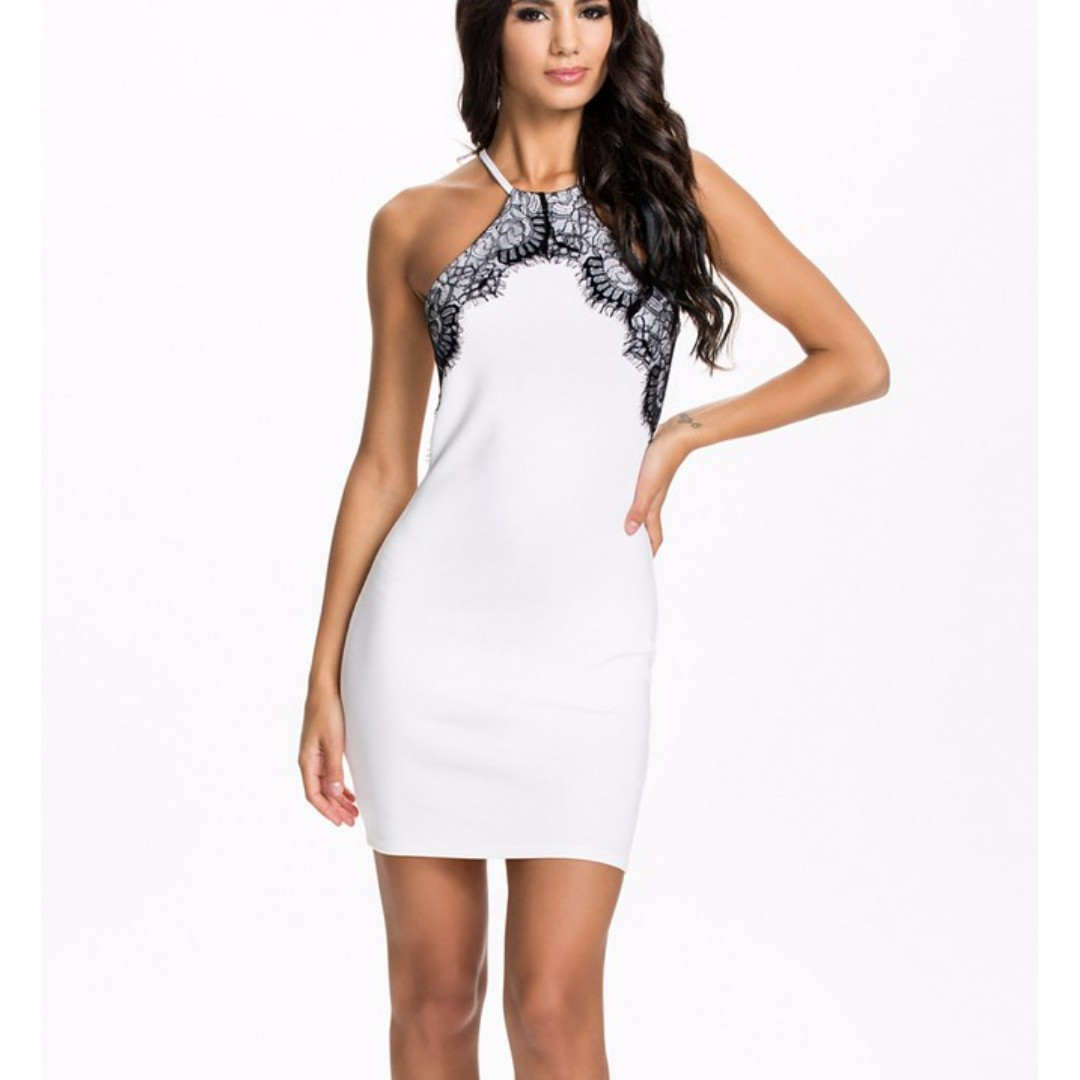 Black Lace. White Halter neck Dress