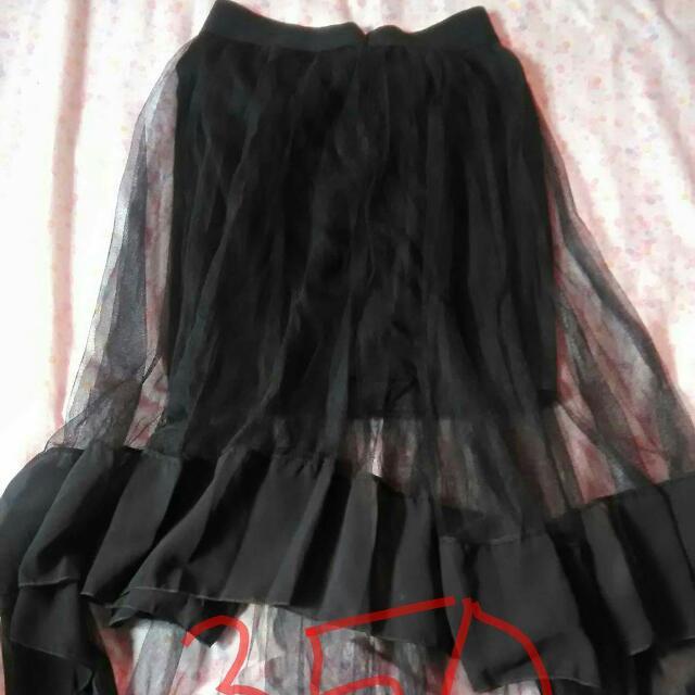 black long back sheer skirt