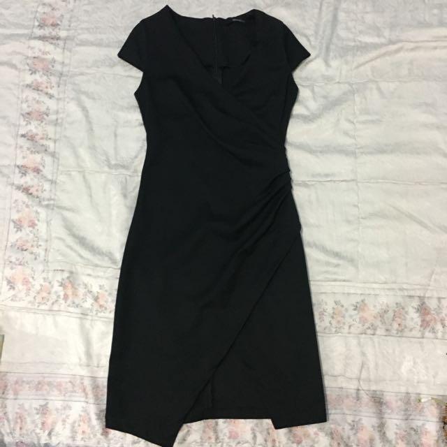 Black Overlap Dress