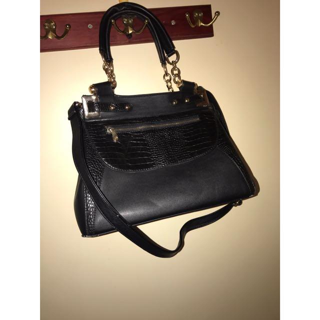 Colette Tote Handbag w/ shoulder strap & snake skin detail