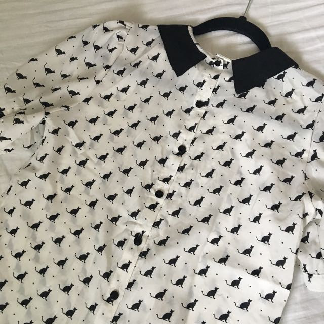 Collared Cat Pattern Shirt