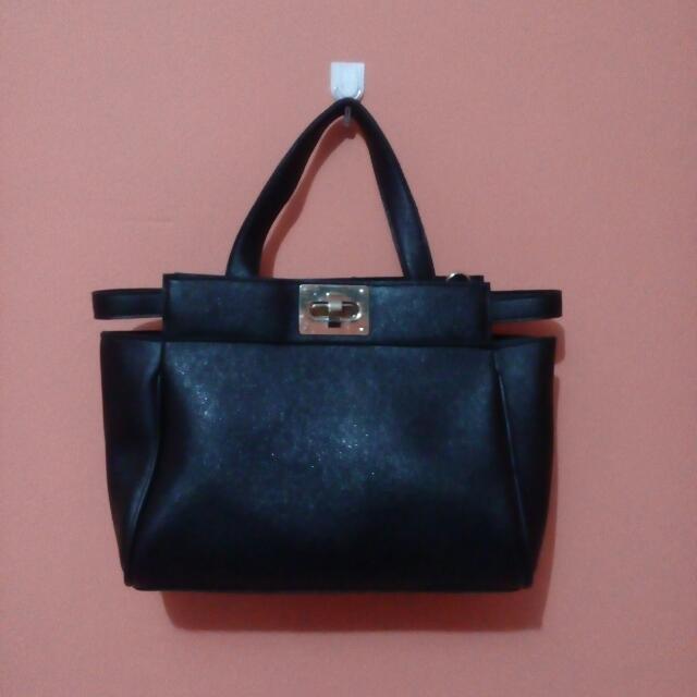 Embellish Turn Lock City Bag/ Hand and sling black bag
