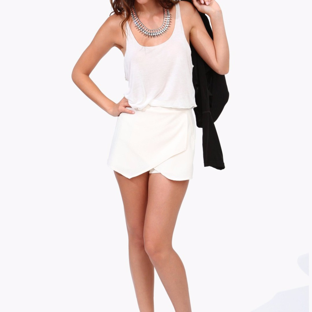 Faux Leather Skirt Shorts White