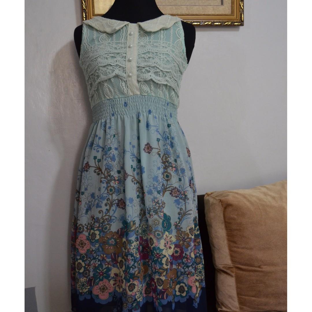 Floral Dress Mint Green