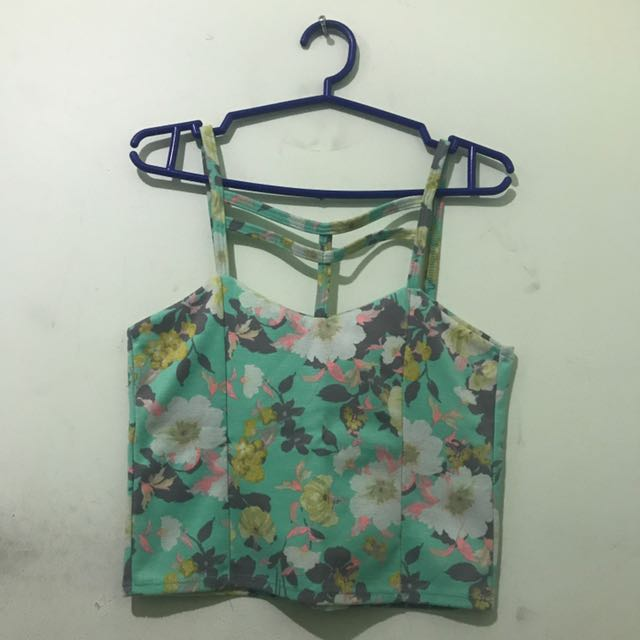Floral Rib Cropped Top
