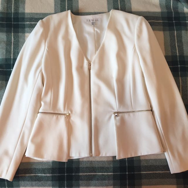 Forever New White Peplum Blazer With Gold Zips (Size 18 AUS)