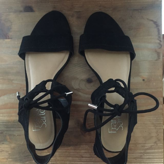 Franco Sarto Black Low Wedge Sandals