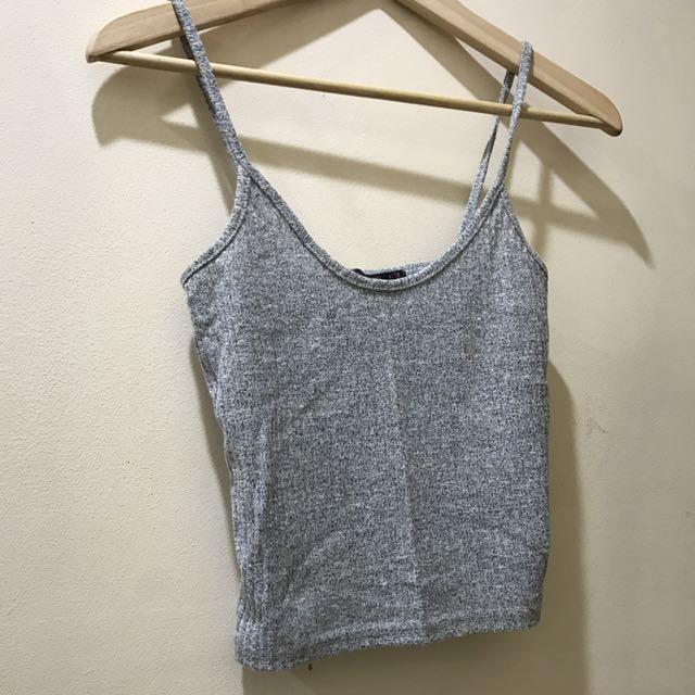 Grey Knitted Crop Singlet