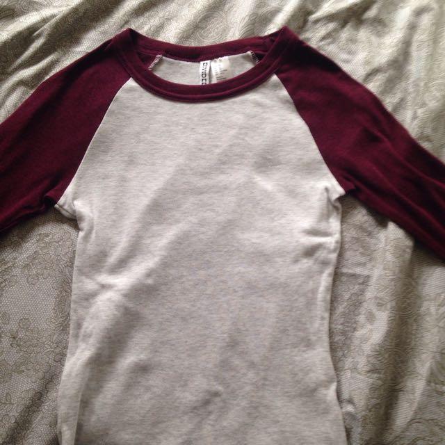 H&M Burgundy Baseball Shirt