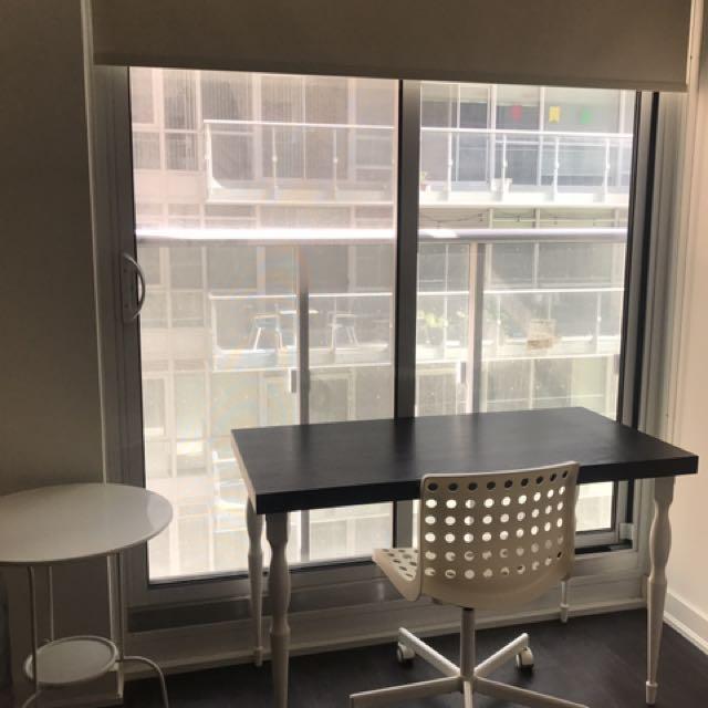 IKEA Desk + 2 White Swirl Chairs