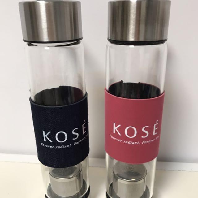 全新.kose高絲玻璃隨身瓶兩件組450ml