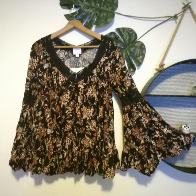 LABEL OF LOVE Astrid Boho Blouse Size S RRP $69.95