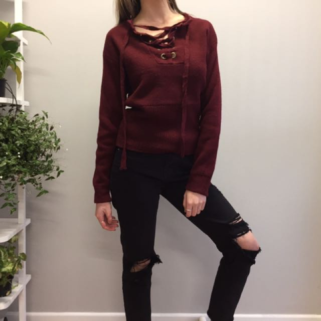 Lioness Maroon Lace Up Knit