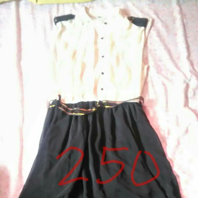 long back ivory and black dress