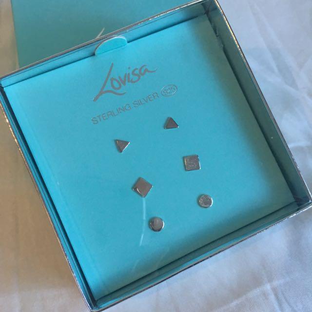 Lovisa Set Of 3 Stud Silver Earrings 925