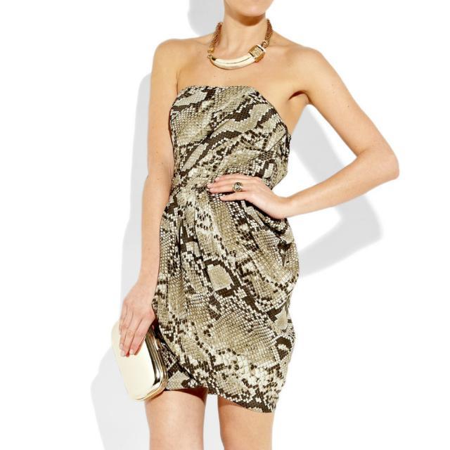 Michael Kors Strapless Silk Python Dress Size 4
