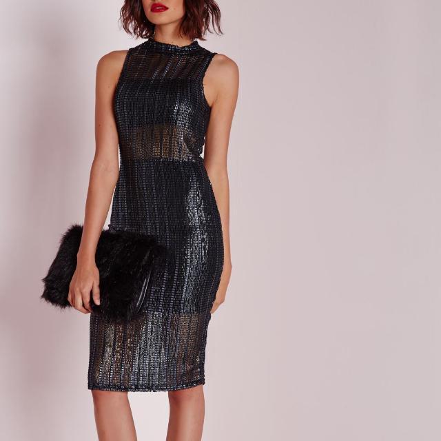 Missguided Metallic Black Mesh Panel Dress Size 2