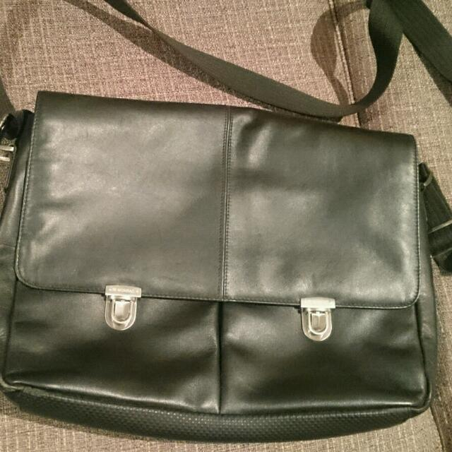 *new price* Monsac Black Leather Messenger Bag