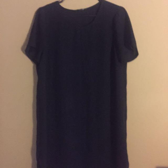 Navy Blue Chiffon Shirt Dress